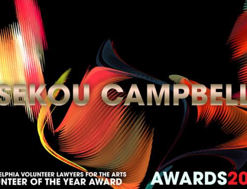 Philadelphia Volunteer Lawyers for the Arts Volunteer of the Year Award 2017 Winner Sekou Campbell