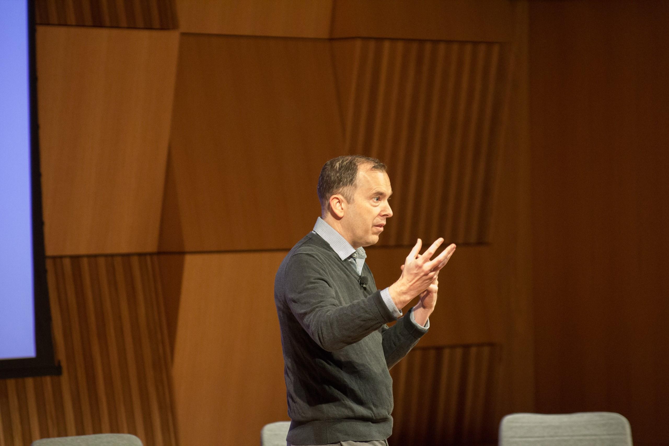 Photo of Defining Innovation speaker on stage