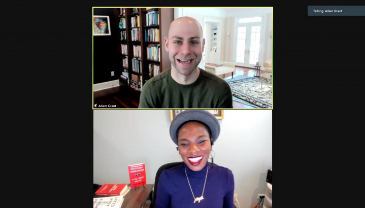 sceenshot of Defining Innovation interview with Adam Grant